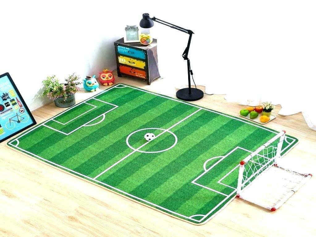 Kids Soccer Pitch Rug Mat Modern Design