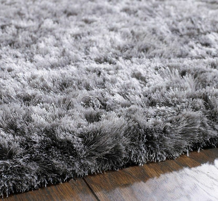 Xl Large Shaggy Rug Silver Grey Soft Fluffy Elegant Thick